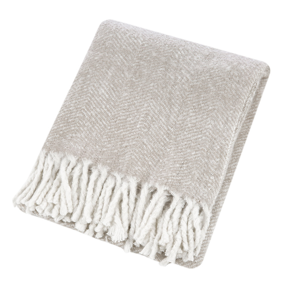 A by Amara - Herringbone Throw - Grey