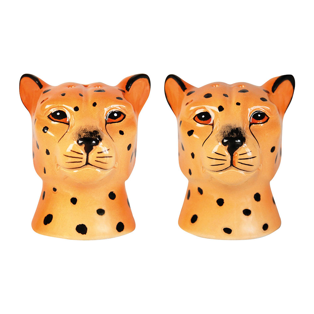 &Klevering - Leopard Face Salt & Pepper Shakers