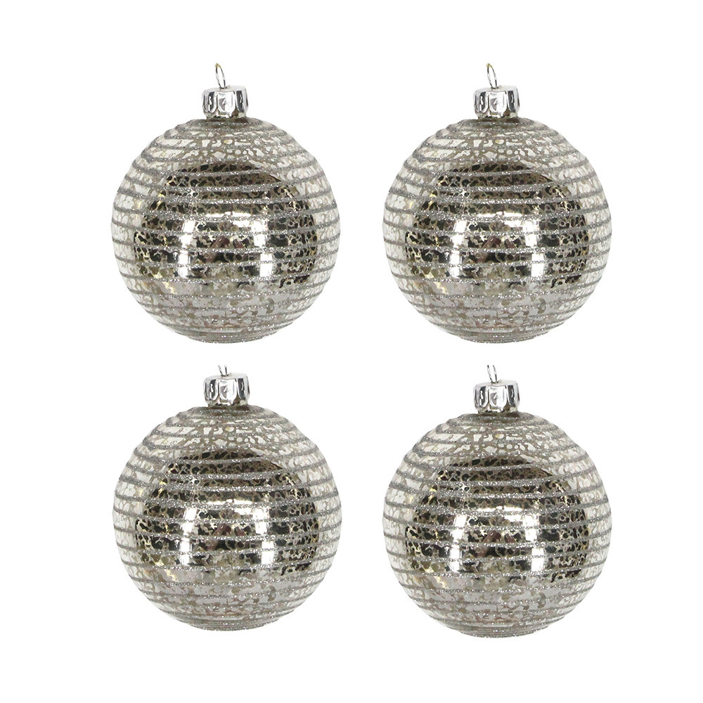 buy gisela graham antique silver astral baubles set of 4 amara - Antique Silver Christmas Decorations