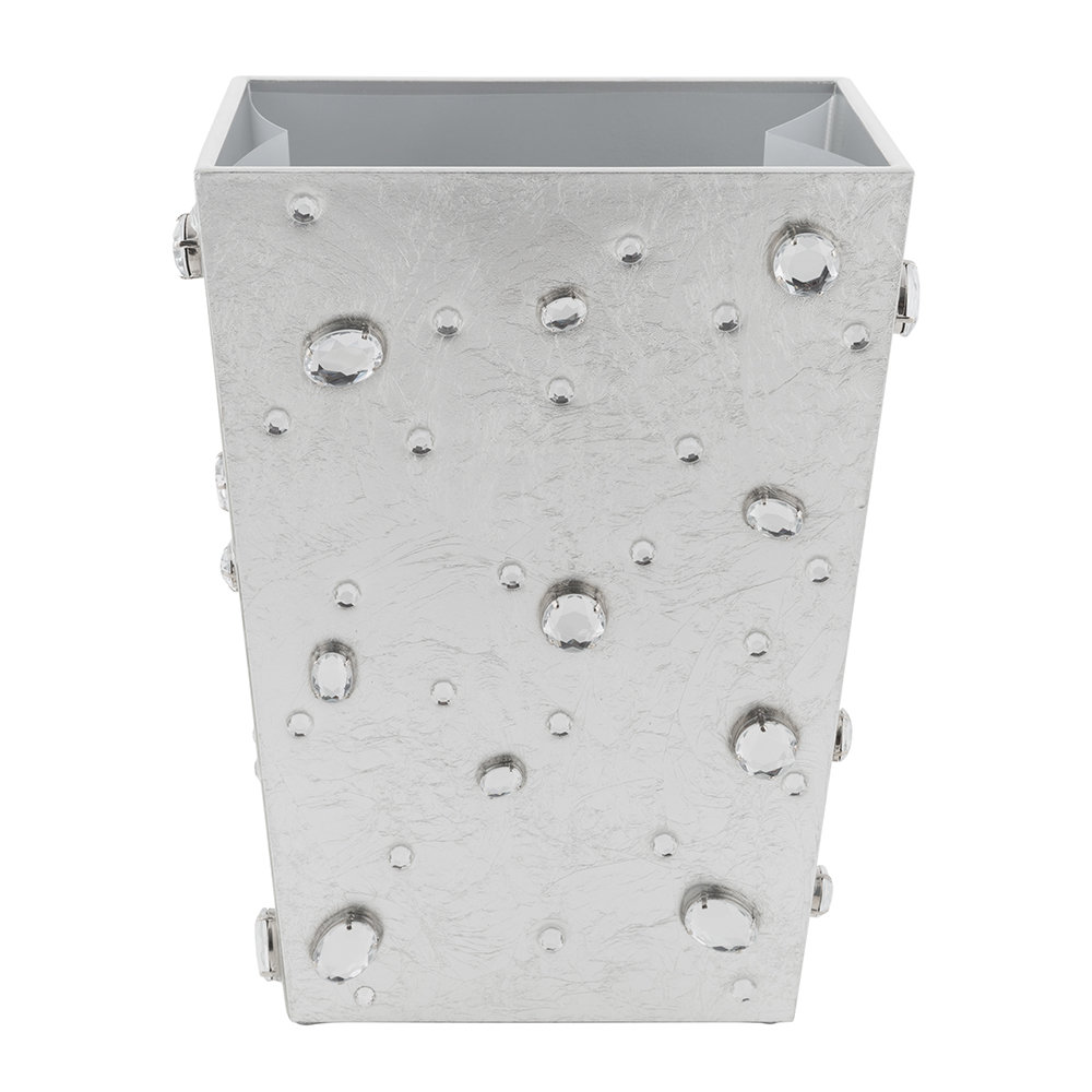 Mike + Ally - Contessa Jewelled Waste Bin - Silver Leaf