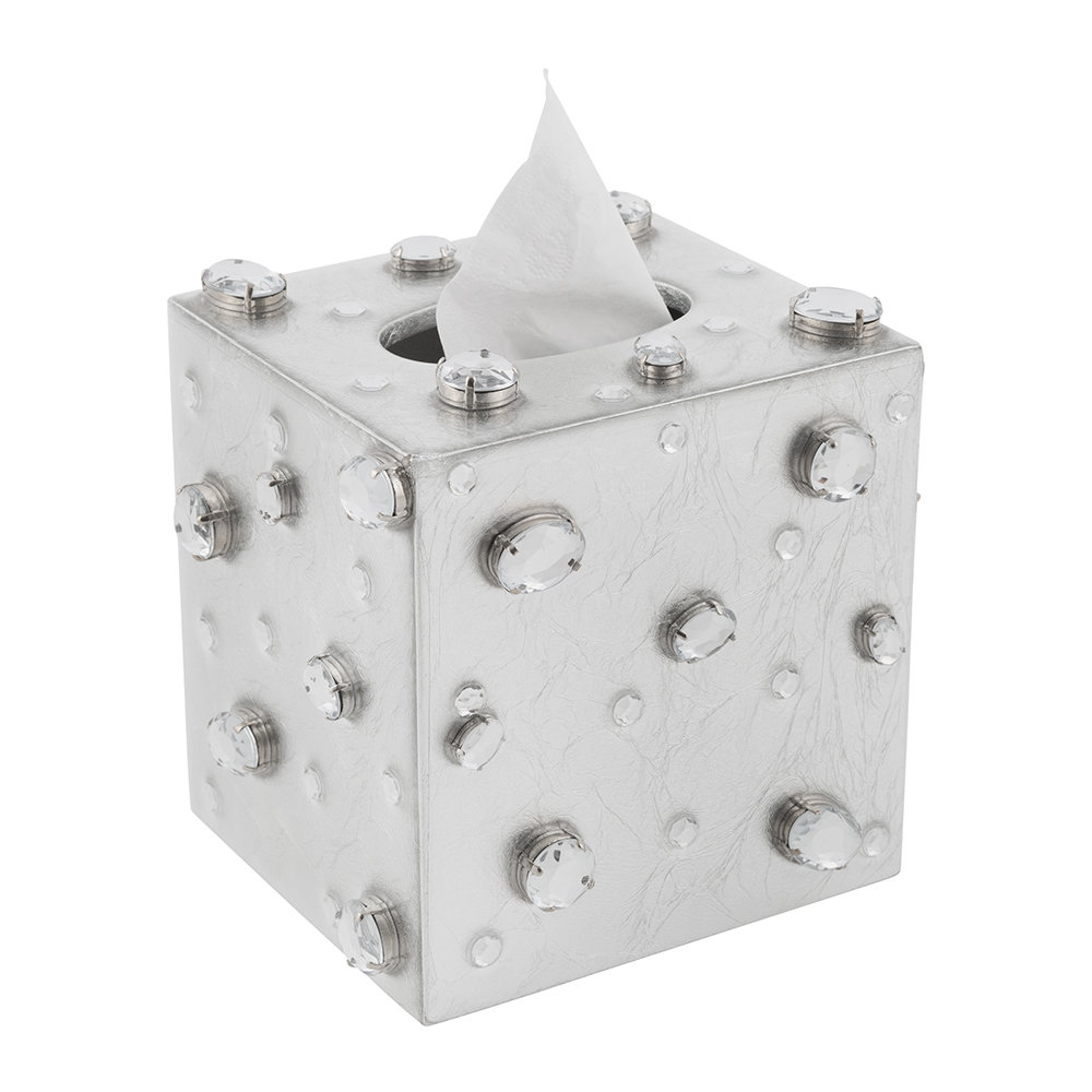 Mike + Ally - Contessa Jewelled Tissue Box - Silver Leaf