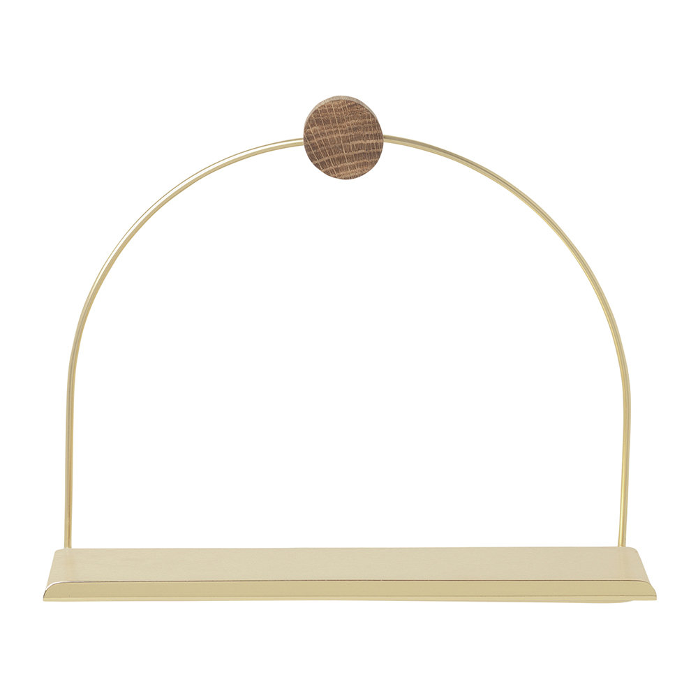 Ferm Living - Bathroom Shelf - 26cm - Brass/Oiled Oak