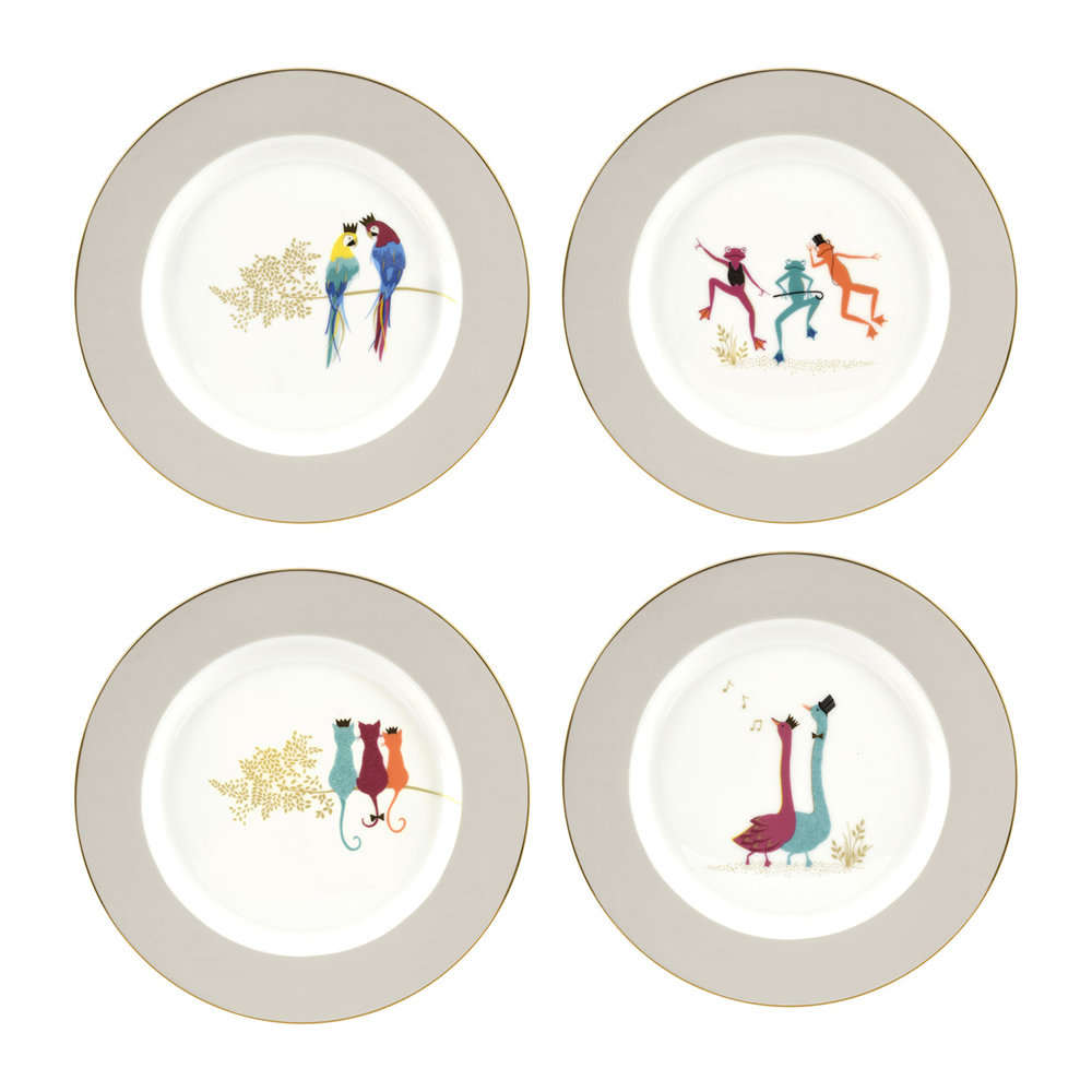 Sara Miller - Piccadilly Collection Cake Plates - Set of 4 - Design 2