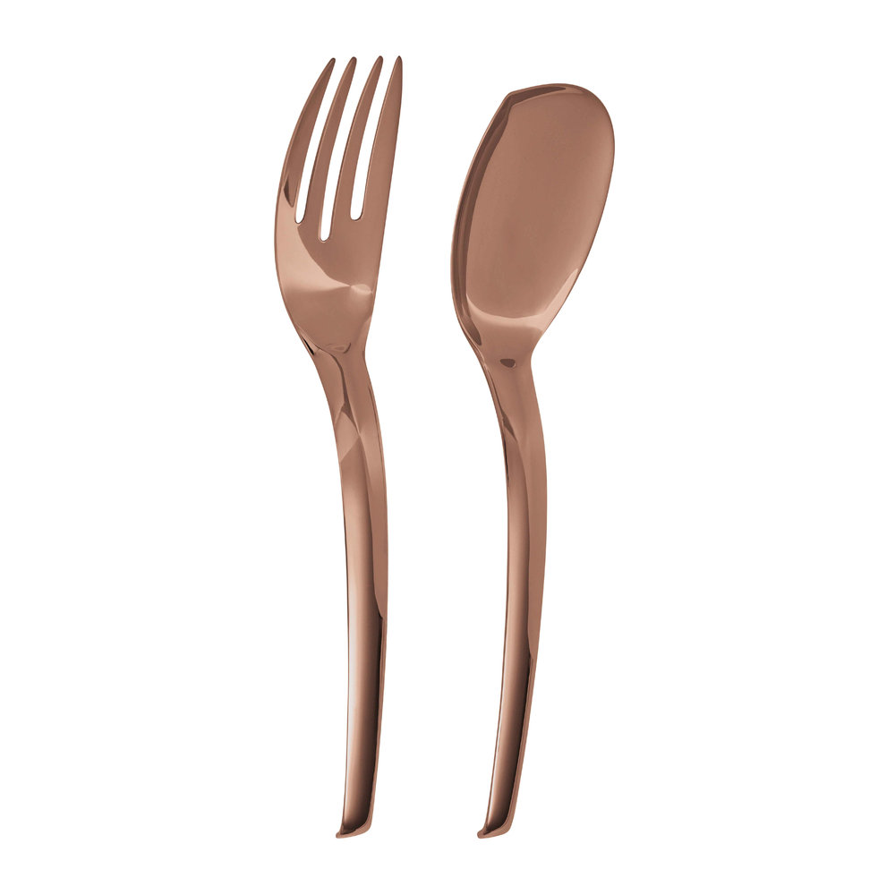 Sambonet - Living Serving Spoon  Fork Set - Copper