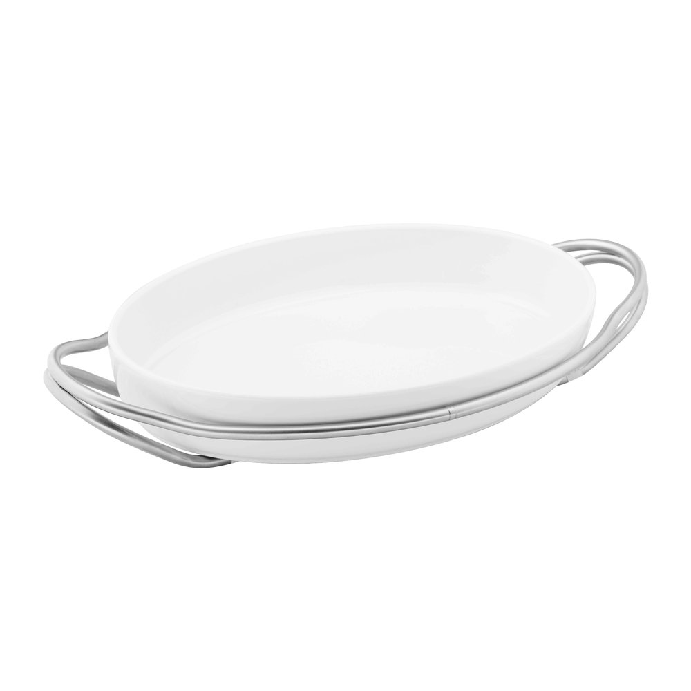 Sambonet - New Living Oval Porcelain Dish  Holder - Stainless Steel
