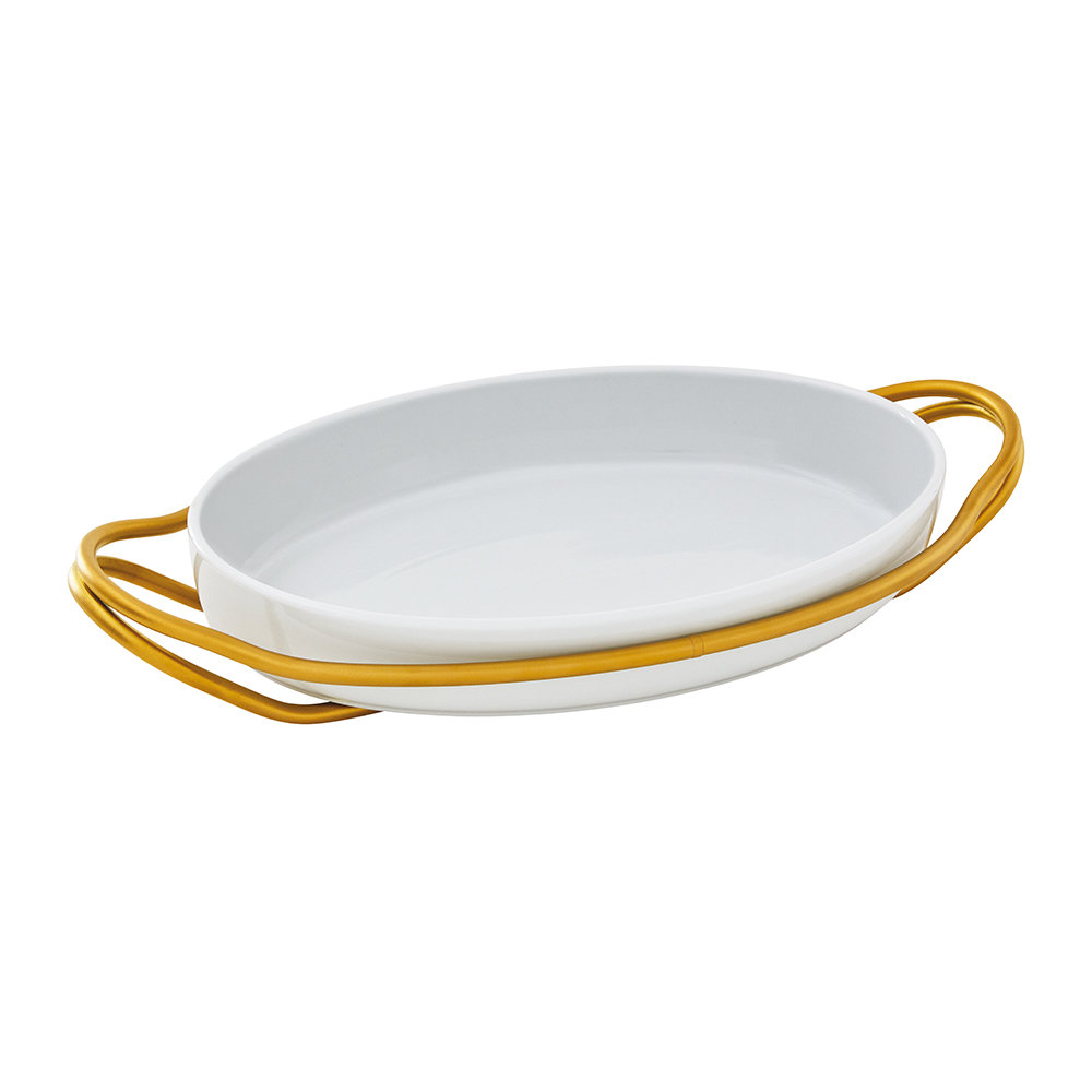 Sambonet - New Living Oval Porcelain Dish  Holder - Gold