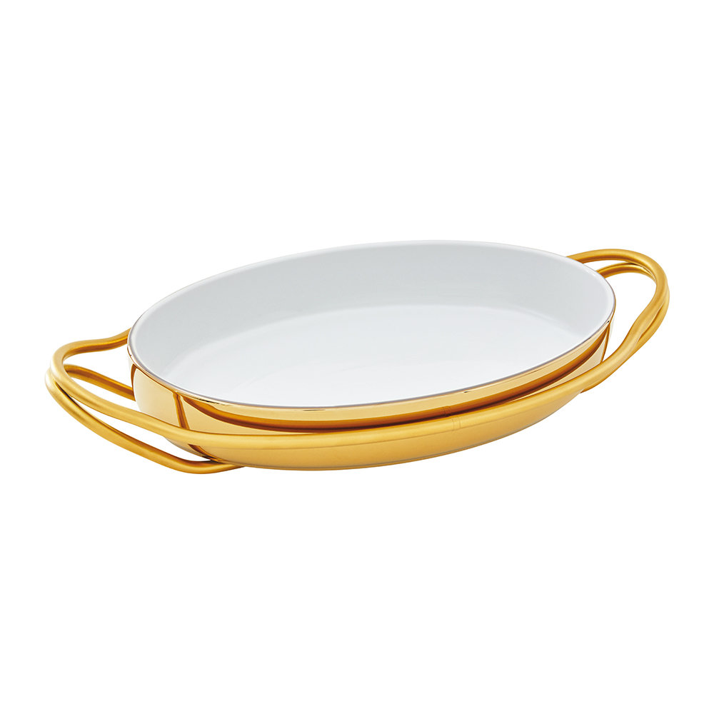 Sambonet - New Living Oval Porcelain Dish  Holder - Gold  Gold Dish