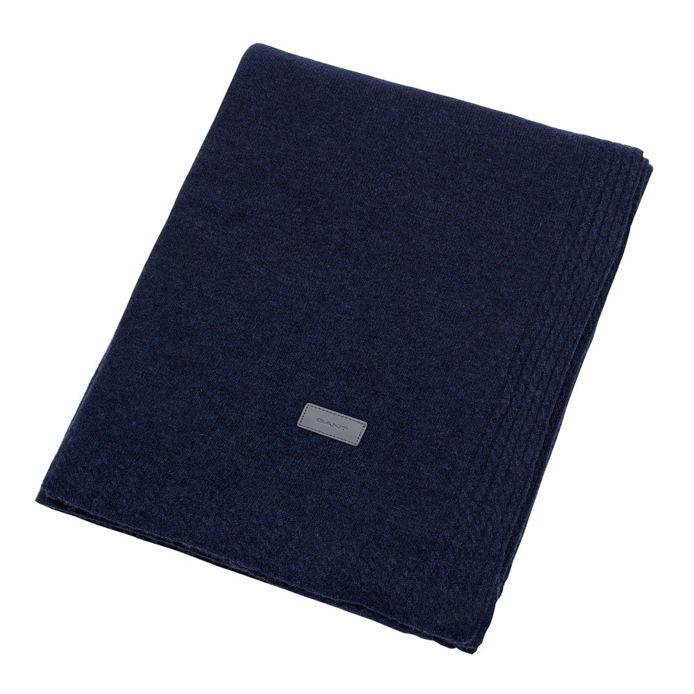 GANT - Light Cable Knit Throw - 130x180cm - Yankee Blue