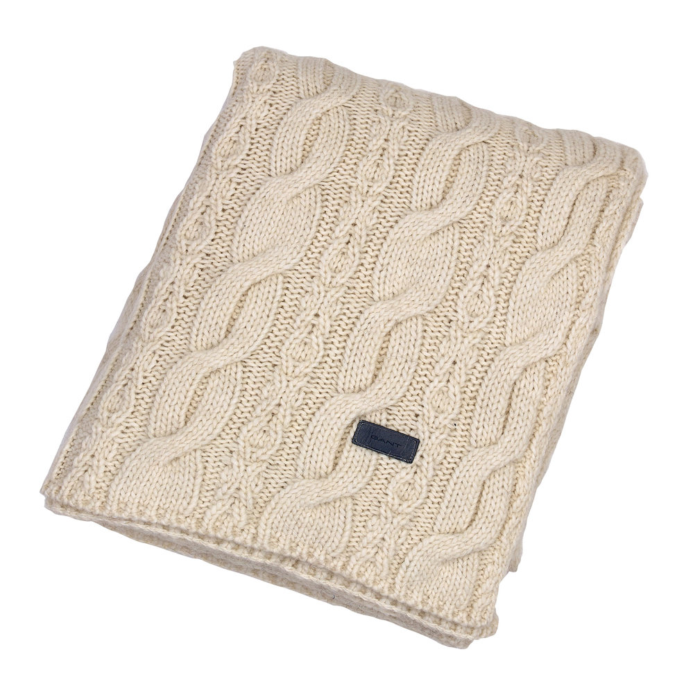 GANT - Chunky Cable Knit Throw - 130x180cm - Eggshell
