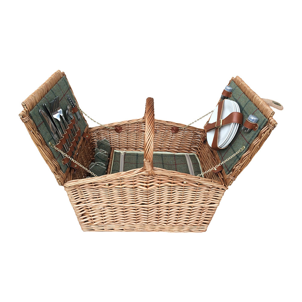A by AMARA - Double Lidded 4 Person Picnic Hamper - Green