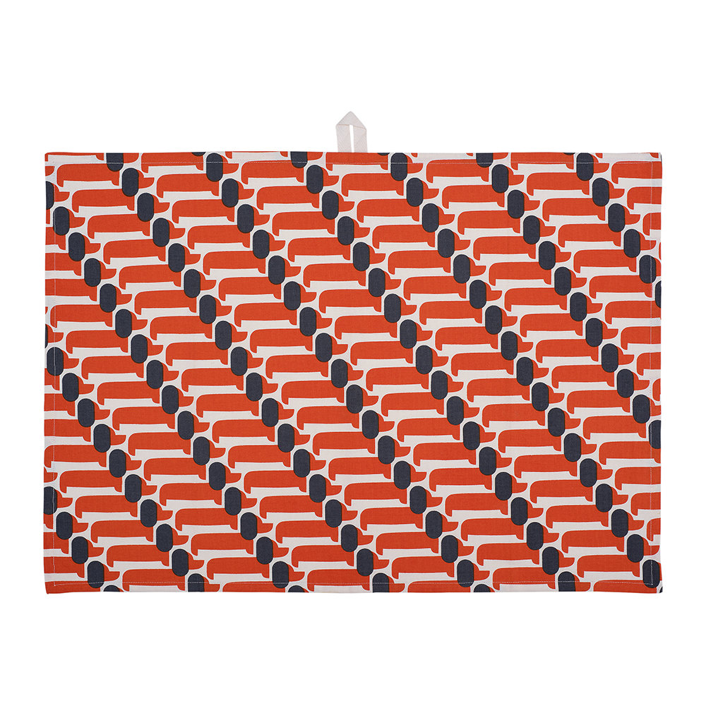 Orla Kiely - Dachshund Tea Towel - Set of 2 - Persimmon