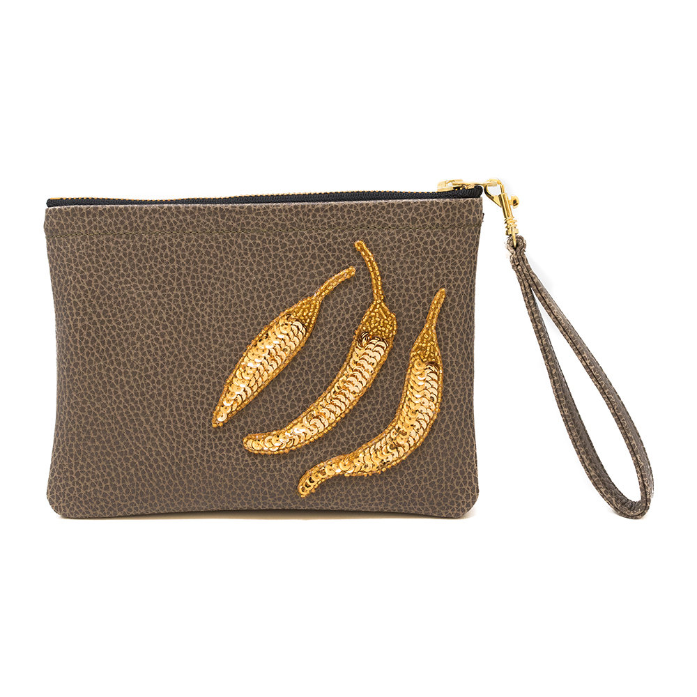 Tea  Tequila - Chillies Vegan Leather Clutch Bag - Taupe