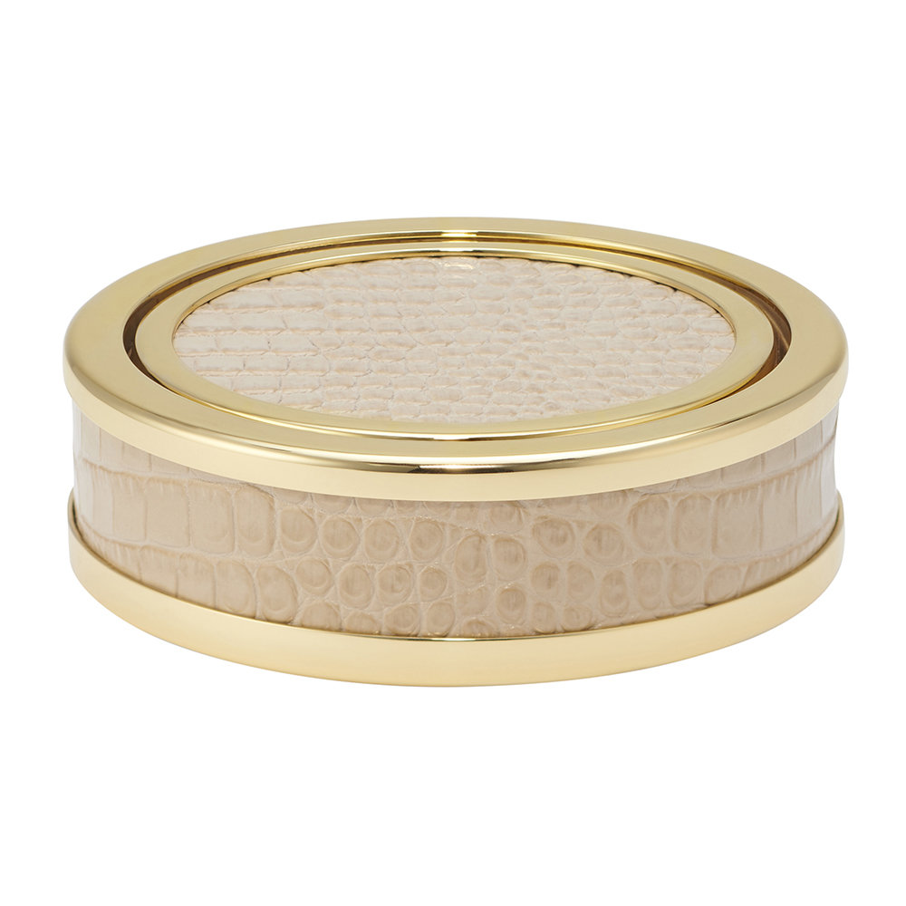 AERIN - Colette Croc Leather Coaster - Fawn - Set of 4