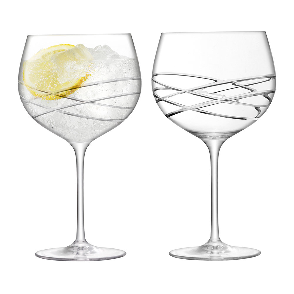 LSA International - Balloon Gin Glass - Wave Cut - Set of 2