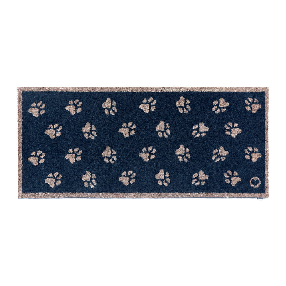 Hug Rug - Paws Washable Recycled Door Mat - 65x150cm - Navy
