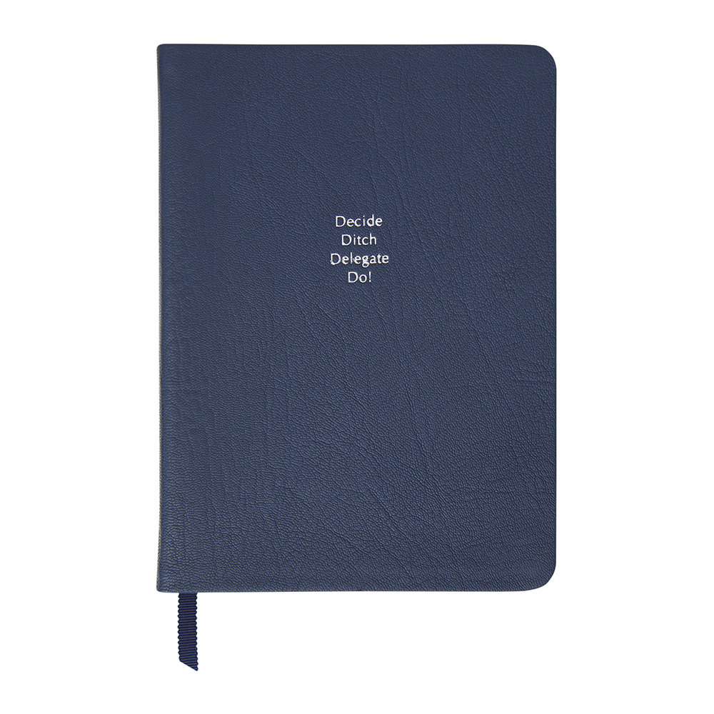 Organise-Us - 'Decide Ditch Delegate Do!' Medium Leather Notebook - Navy Blue