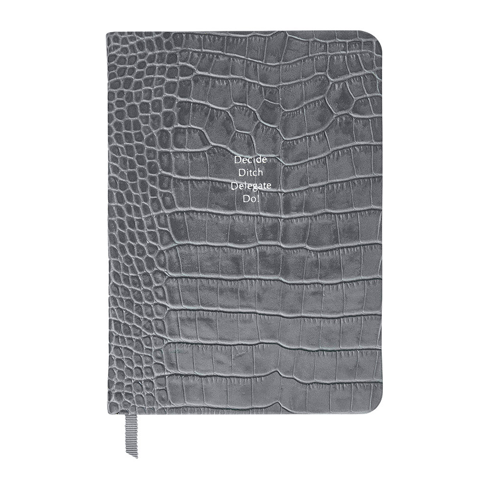 Organise-Us - 'Decide Ditch Delegate Do!' Medium Leather Notebook - Slate Grey