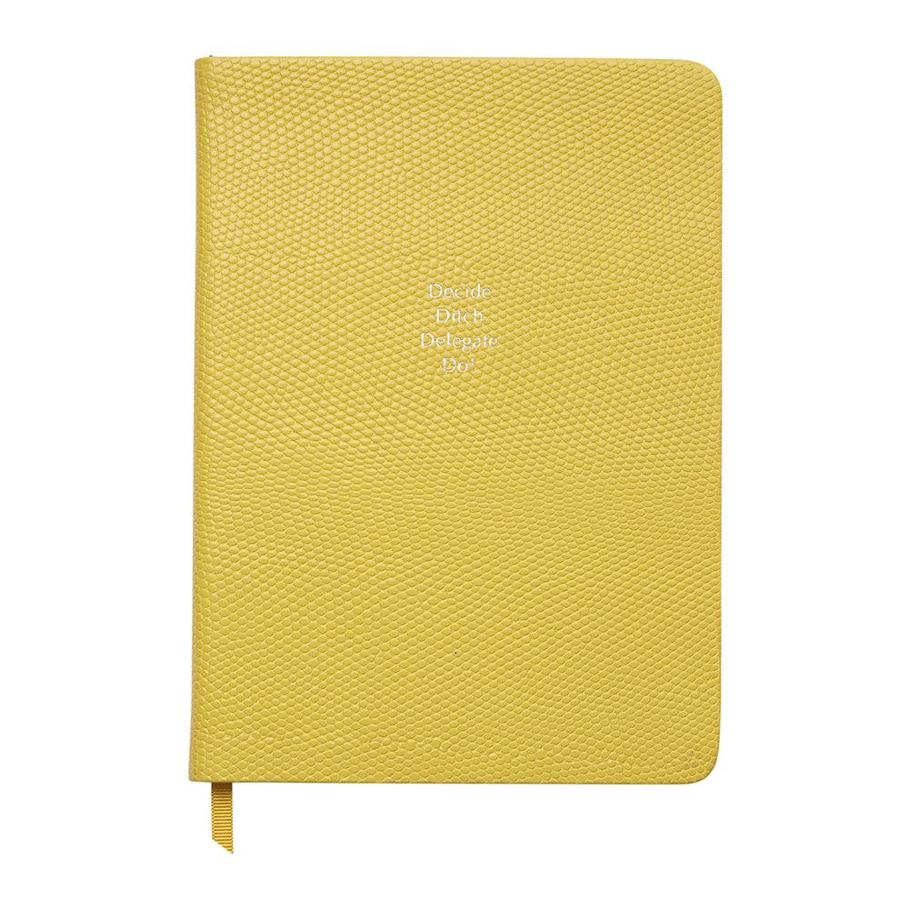 Organise-Us - 'Decide Ditch Delegate Do!' Medium Leather Notebook - Sunshine Yellow