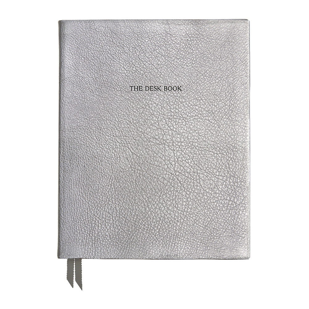 Organise-Us - 'The Desk Book' Leather Notebook - Silver