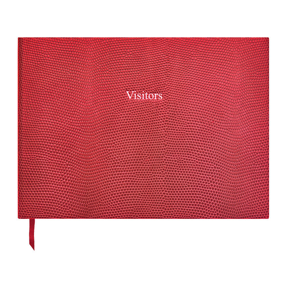 Organise-Us - Leather Visitors Book - Cherry Red