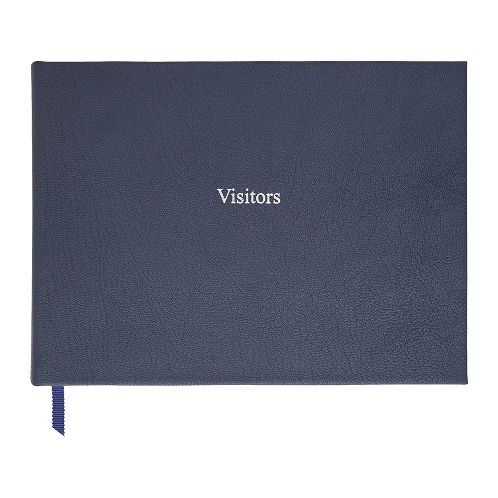 Organise-Us - Leather Visitors Book - Navy Blue