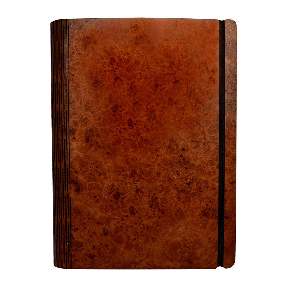 Bark  Rock - Maple Burr Wooden Notebook - Pocket - 15.5x19cm