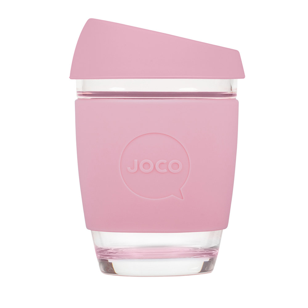 Joco - Reusable Glass Travel Cup - 340ml - Strawberry