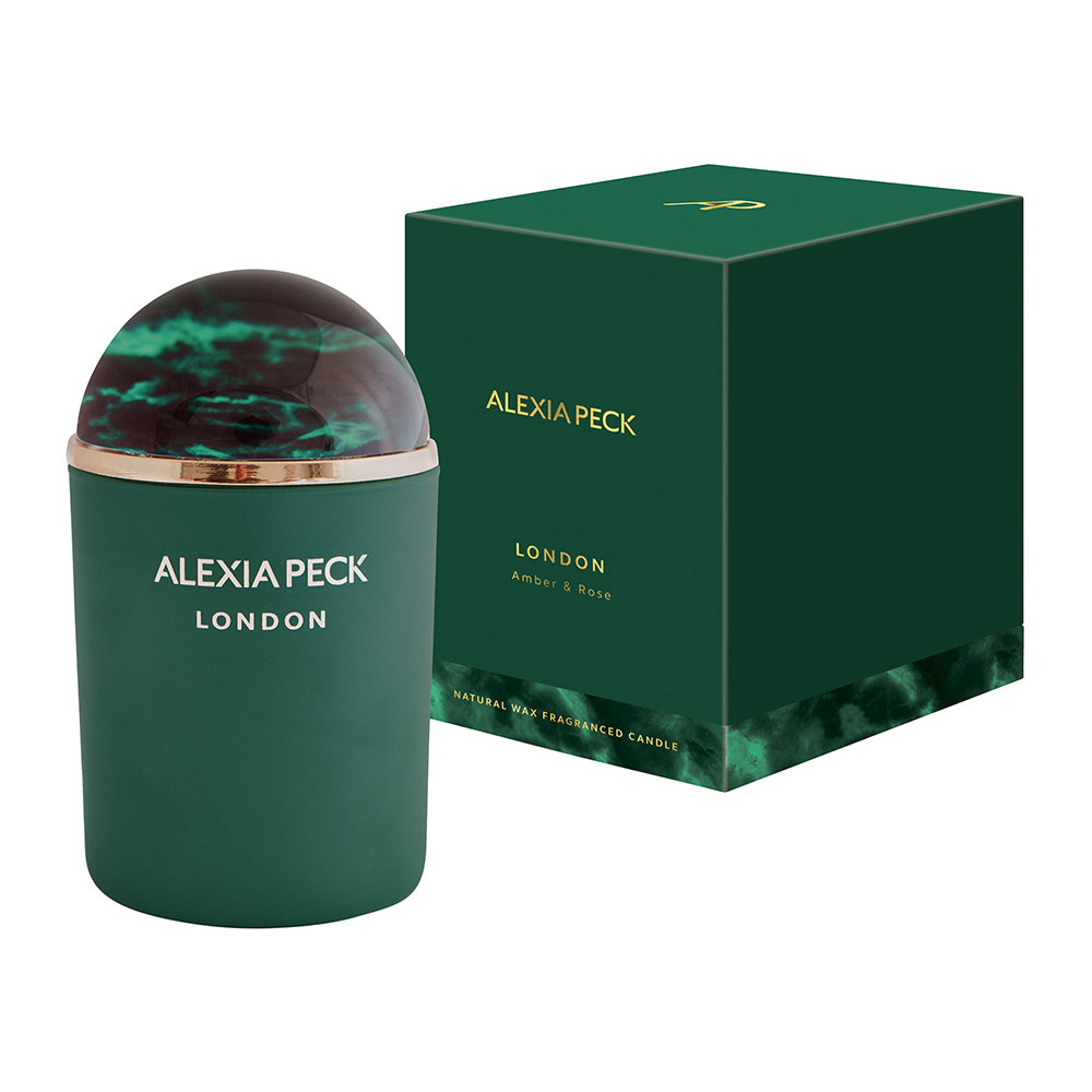 Alexia Peck - London Candle  Paperweight - Amber  Rose