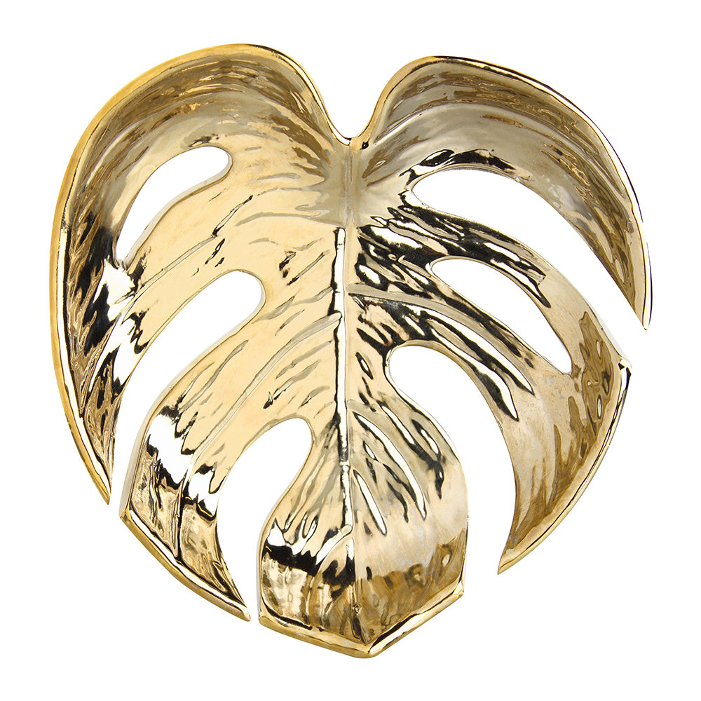 &Klevering - Stoneware Leaf Dish - Gold - Small