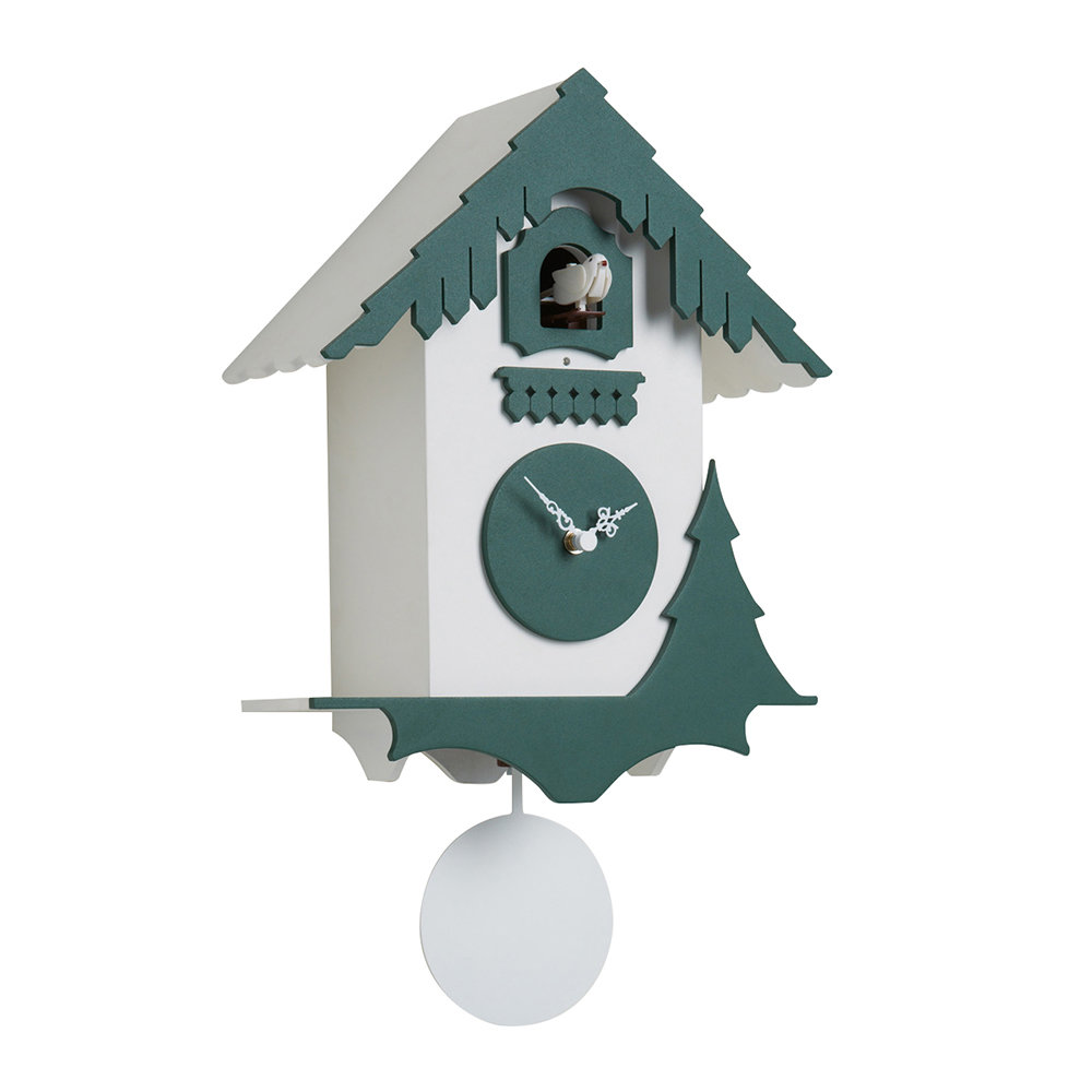 Diamantini  Domeniconi - Chalet Wall Clock - Chalet Wall Clock - White/Pine Green