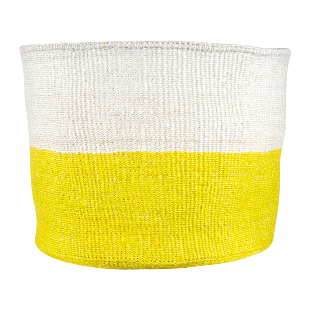 The Basket Room - Alizeti Yellow Colour Block Hand Woven Basket - XL