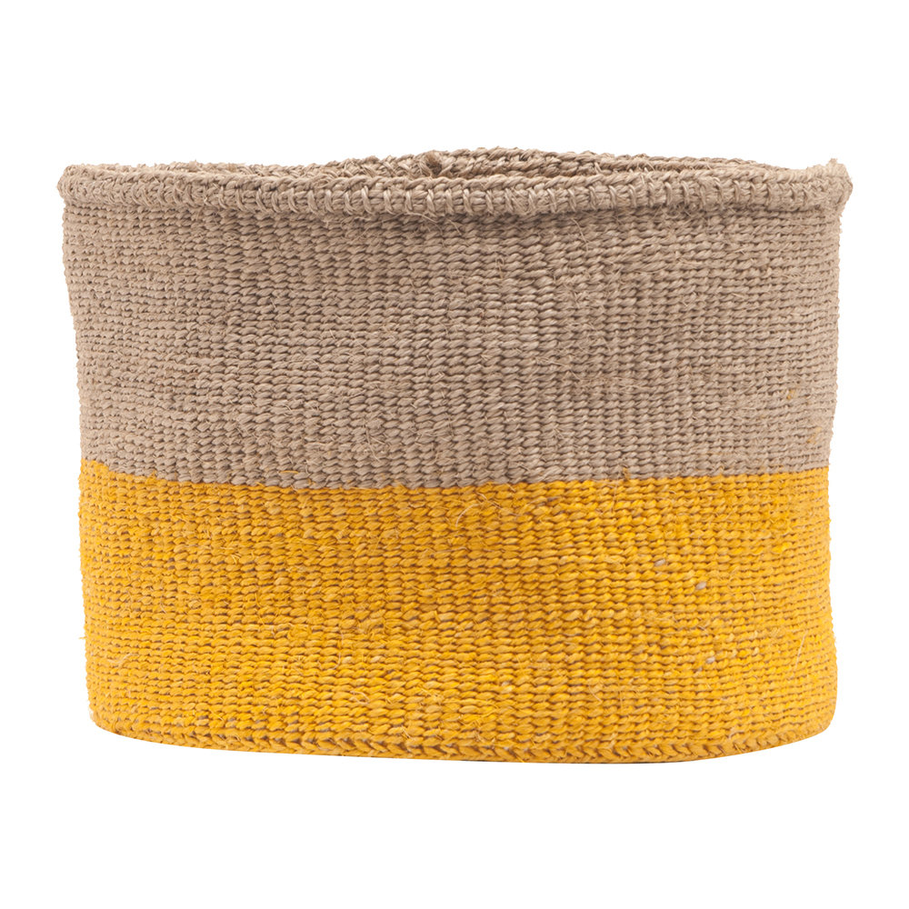 The Basket Room - Ghafla Colour Block Hand Woven Basket - Grey/Yellow - M