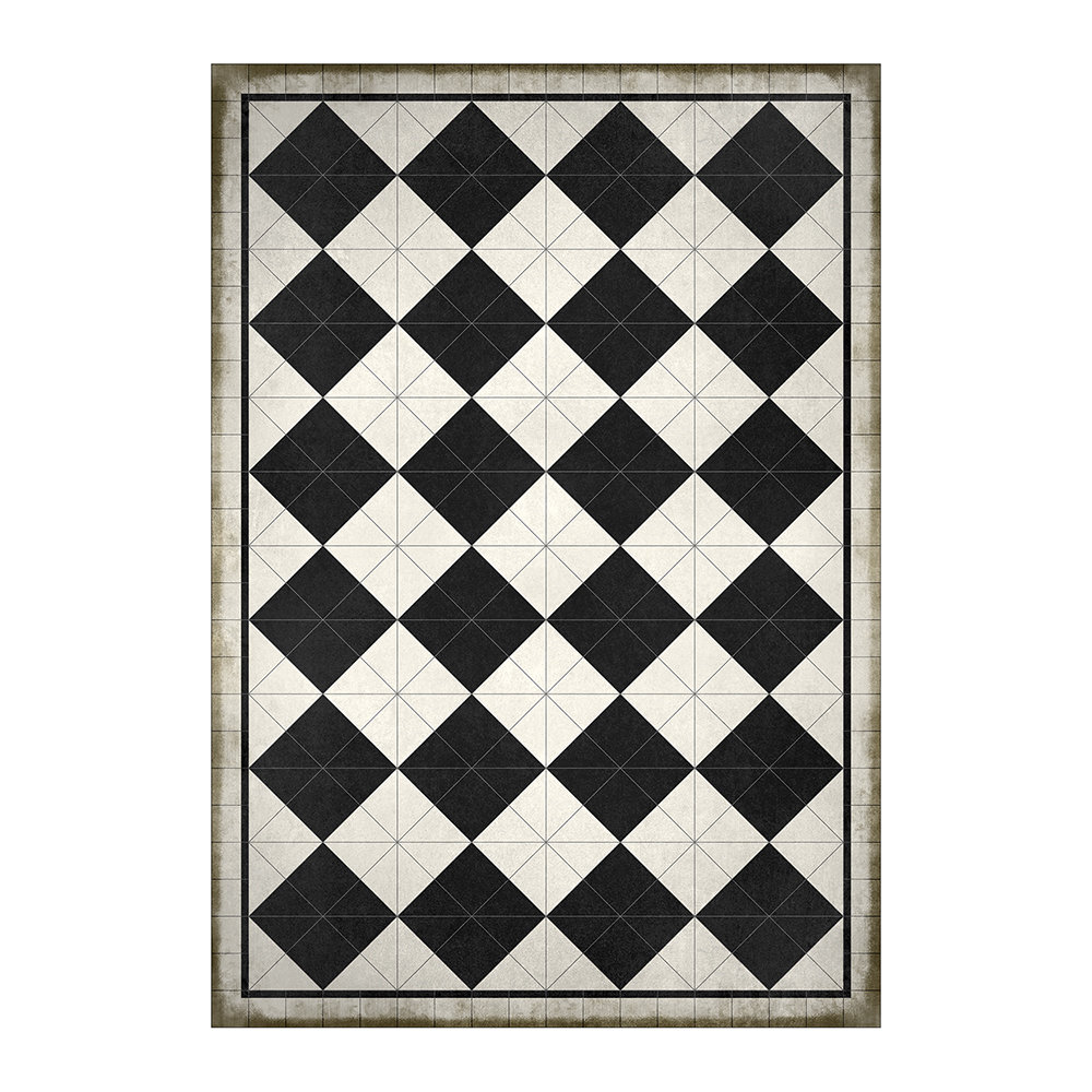 BEAUMONT - 5th Avenue Squares Vinyl Floor Mat - Black/White