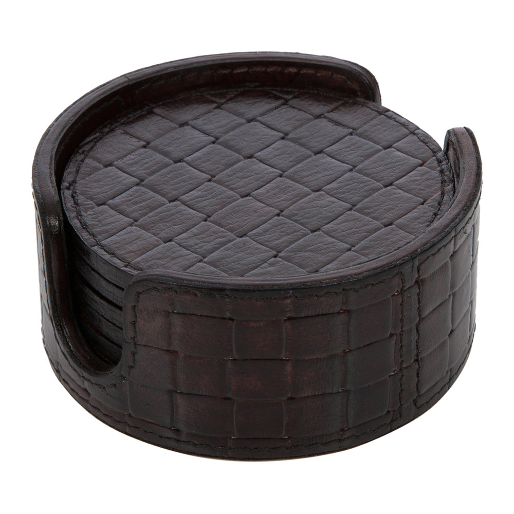 Image of A by AMARA - Chocolate Weave Leather Coasters - Roundet of 6