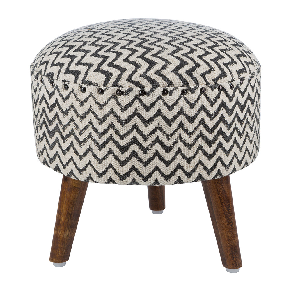 Admirable Printed Zigzag Round Stool Natural Black Ncnpc Chair Design For Home Ncnpcorg
