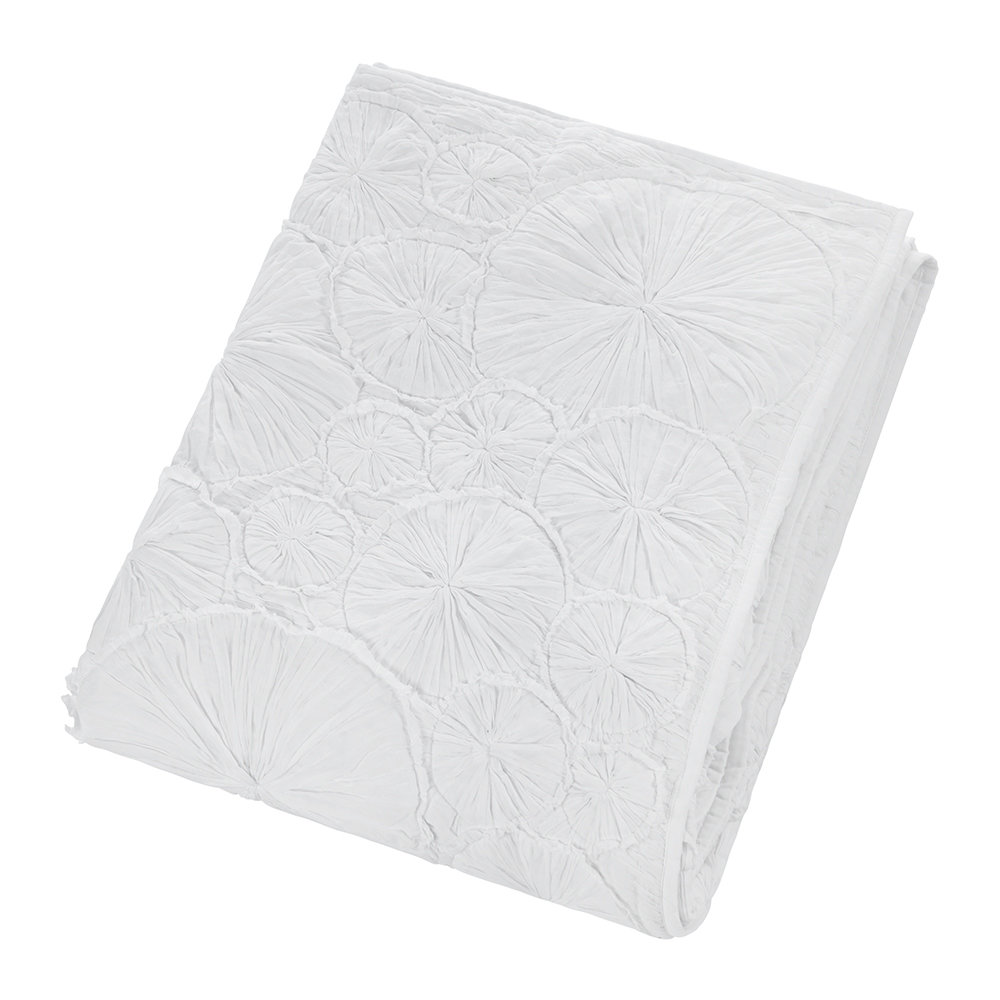 A by Amara - Hand Appliqued Cotton Throw - White