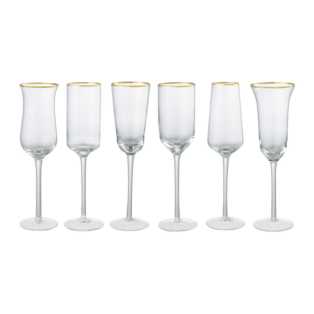 Bitossi Home - Gold Trim Flute Glasses - Set of 6
