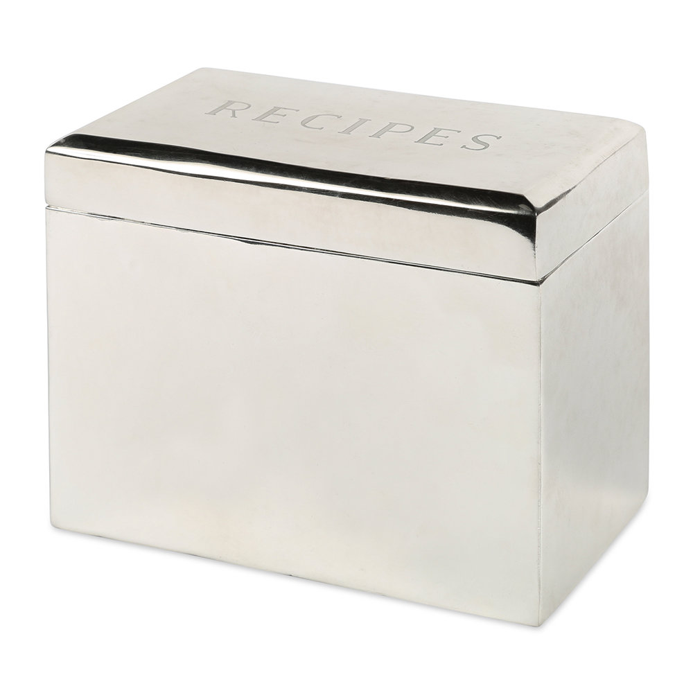 Sir/Madam - Bevelled Recipe Box - Silver Plated Brass