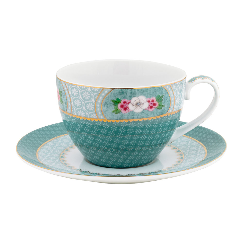 Pip Studio - Blushing Birds Cappuccino Cup  Saucer - Blue