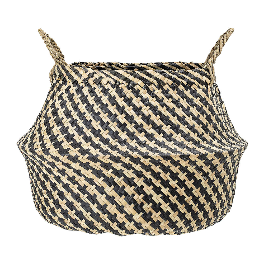 Bloomingville - Round Seagrass Basket with Handles - Natural/Black