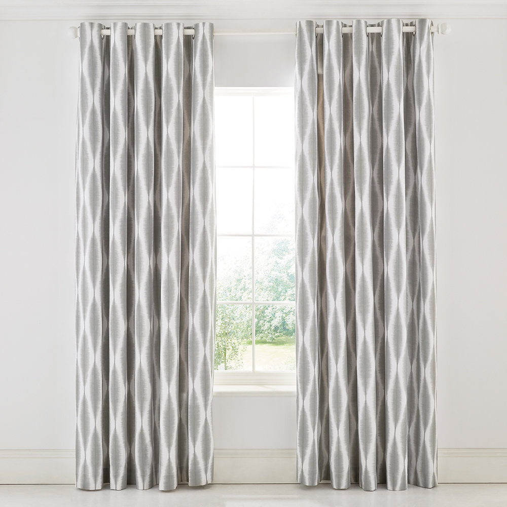 Usoko Rose Lined Curtains Grey 168x183cm