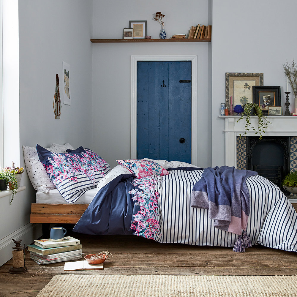 Joules - Cottage Garden Border Stripe Duvet Cover - Comet - Super King