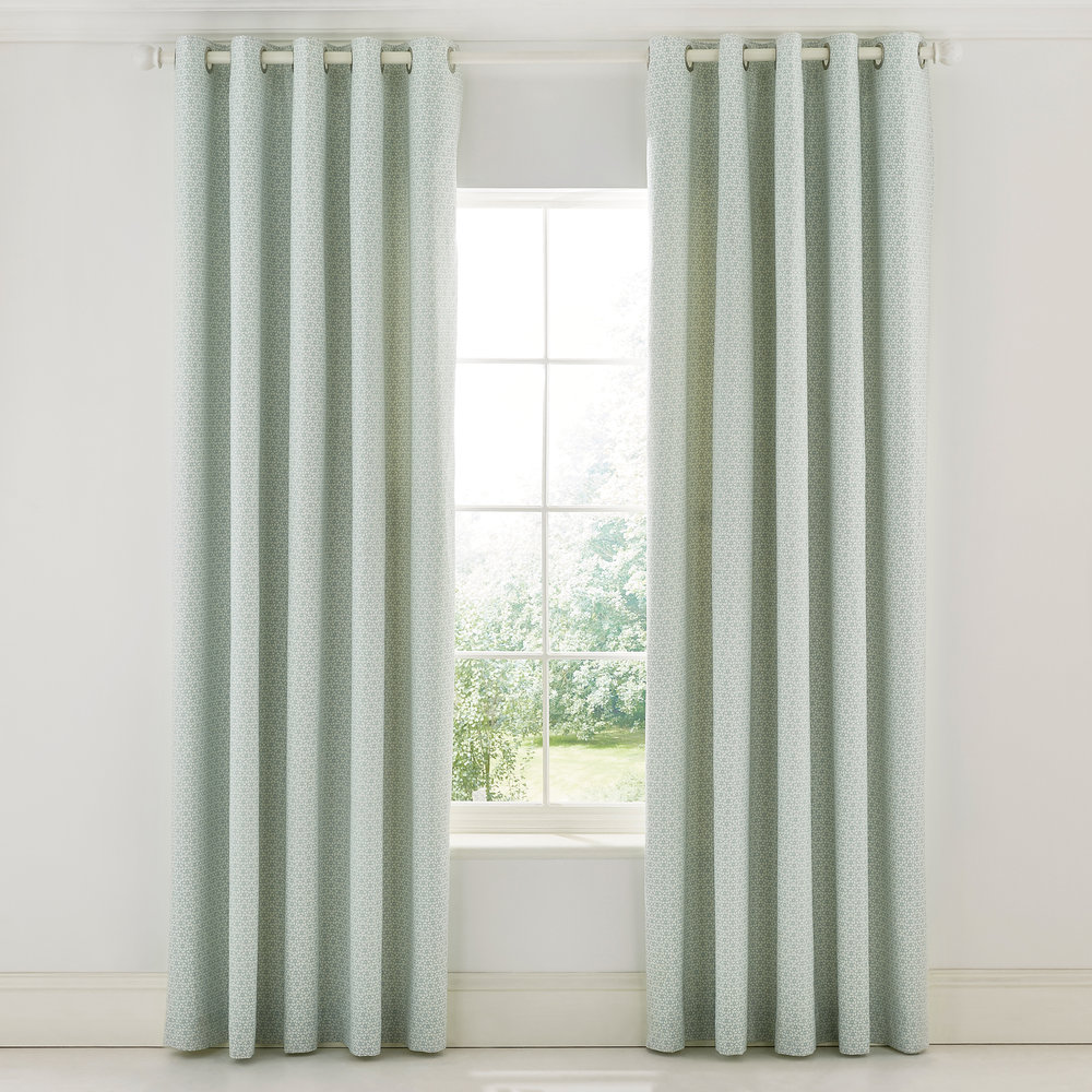 Sanderson - Protea Flower Sea Pink Lined Curtains - Green - 168x229cm