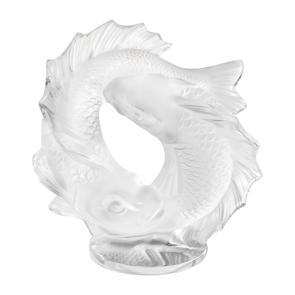 Lalique - Double Fish Sculpture - Small - Clear