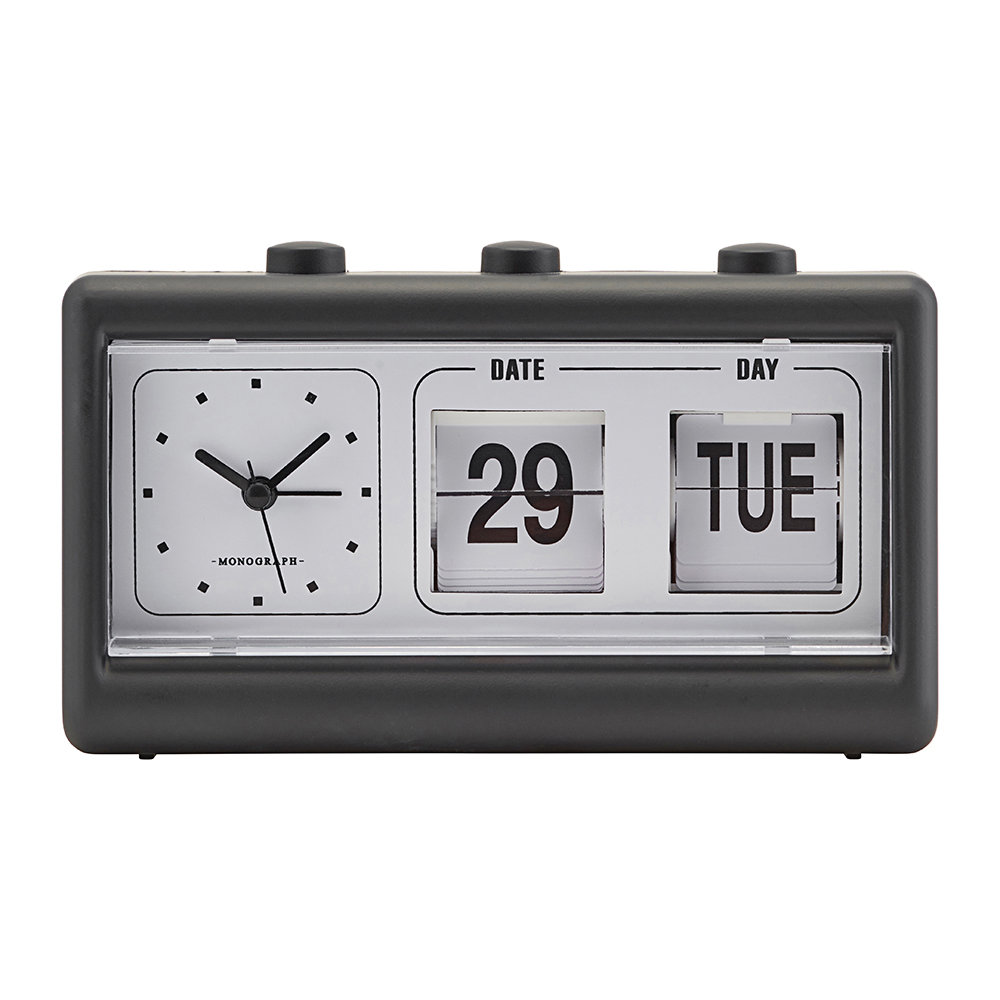 Monograph - Alarm Clock with Calendar - Retro Black