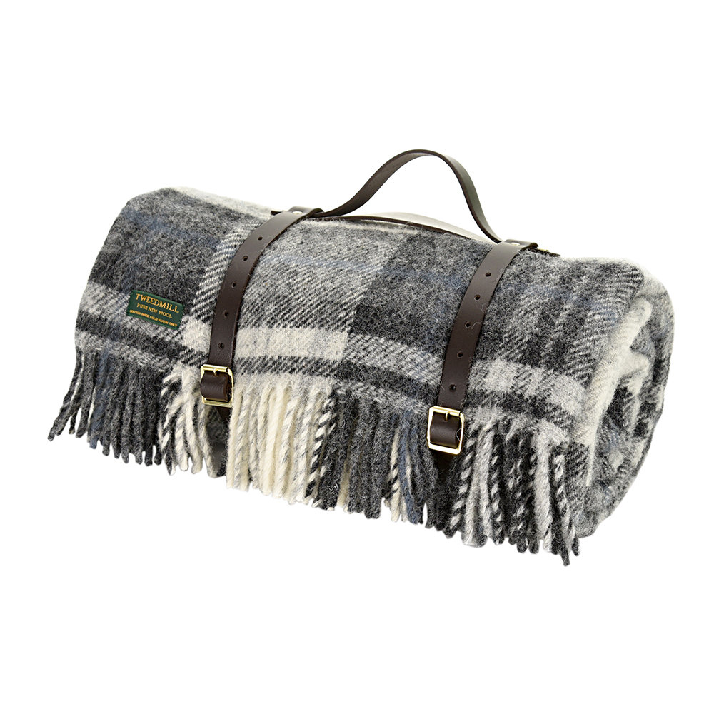 Tweedmill - Pure New Wool Polo Picnic Rug - Cottage Grey/Black