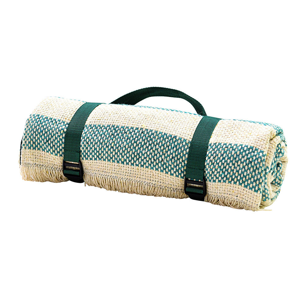 Tweedmill - Crosshatch Recycled Picnic Rug - Jade/Cream/Bottle