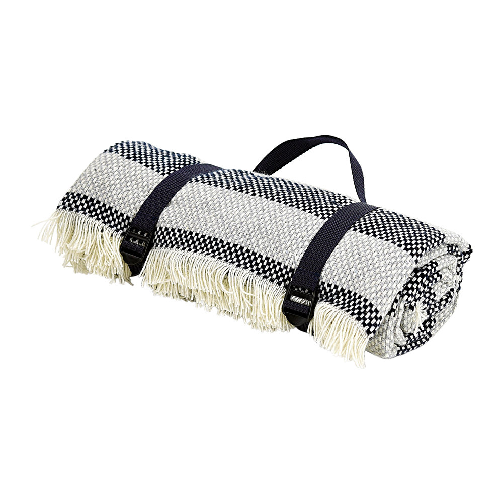 Tweedmill - Crosshatch Recycled Picnic Rug - Navy/Silver