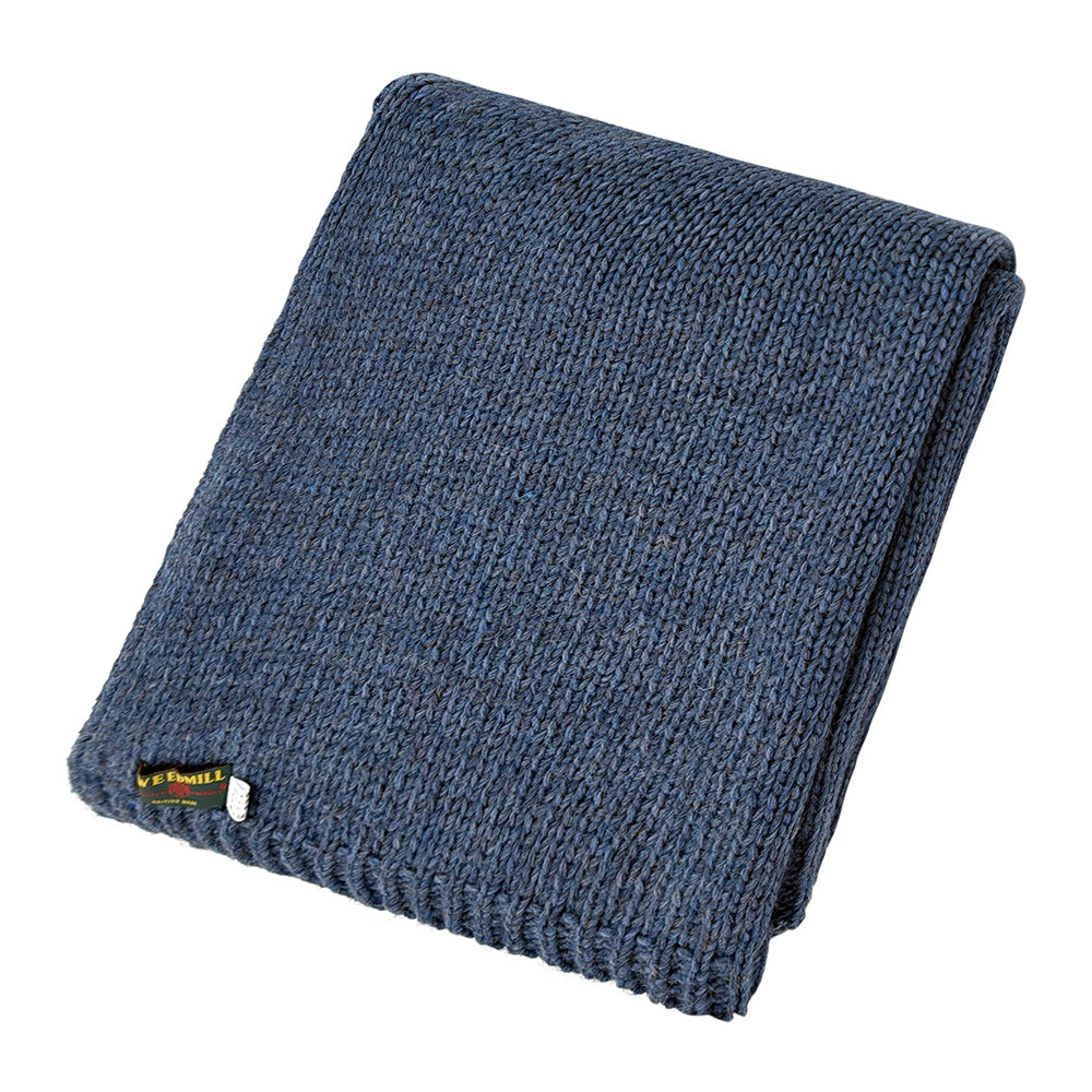 Tweedmill - Knitted Alpaca Throw - Blue Slate
