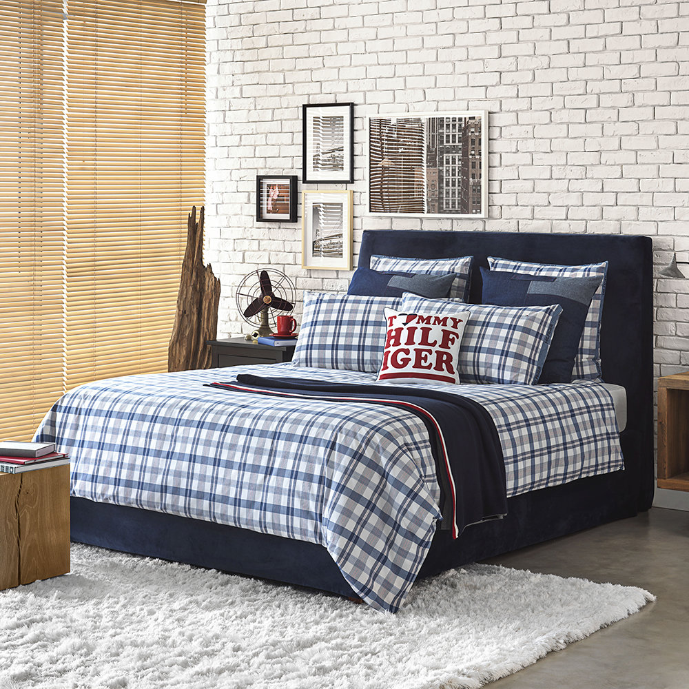 Tommy Hilfiger - Check Hilfiger Trim Quilt Cover - White - Double